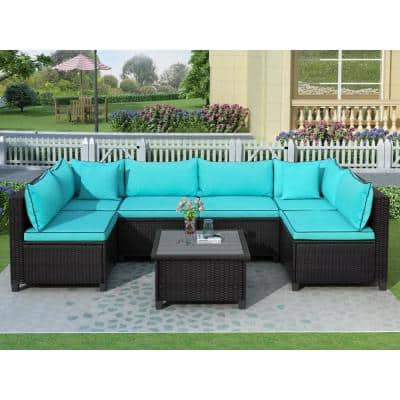 U-Shaped Dark Brown Wicker Outdoor Sectional Set with Blue Cushions and Accent Pillows