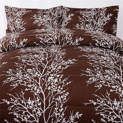 3-Pieces Brown Luxury Printed Microfiber King Comforter Set