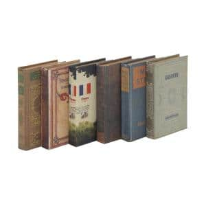 Vintage Style Multi-colored Wood Book-Shaped Storage Boxes, Set of 6: 6 in.W x 9 in.H