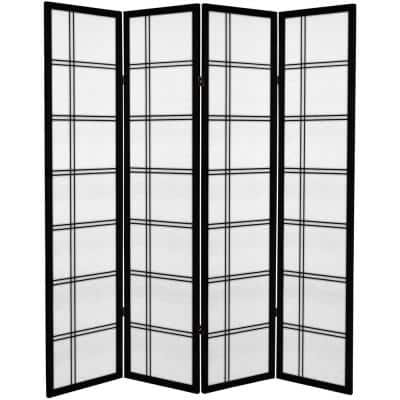 6 ft. Black Printed Canvas Double Cross 4-Panel Room Divider