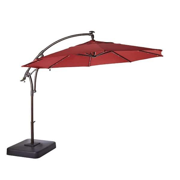Hampton Bay 11 Ft Led Round Offset, Outdoor Patio Umbrella With Solar Led Lights