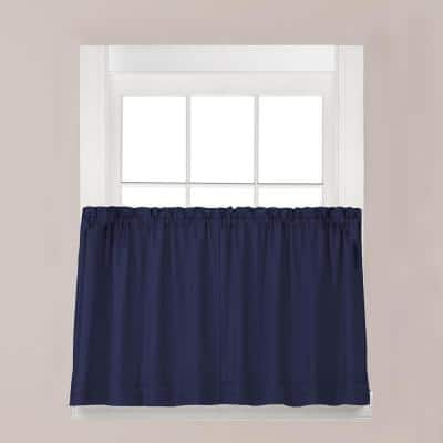 Navy Solid Rod Pocket Room Darkening Curtain - 57 in. W x 30 in. L (Set of 2)