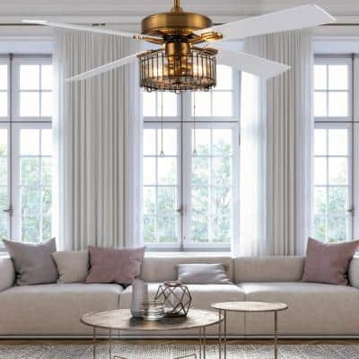 Sisi 52 in. LED Indoor Brass Ceiling Fan with Light
