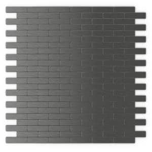 Take Home Sample Bricky Dark Grey 4 in. x 4 in. 5 mm Metal Peel and Stick Wall Mosaic Tile (0.11 sq. ft / Each)