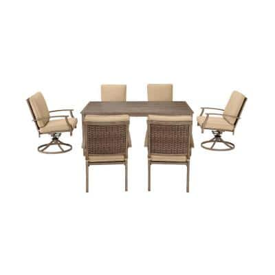 Geneva 7-Piece Brown Wicker Outdoor Patio Dining Set with Sunbrella Beige Tan Cushions