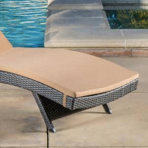Salem Grey 4-Piece Wicker Outdoor Chaise Lounge with Caramel Cushions