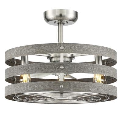 Gulliver 24 in. Indoor/Outdoor Brushed Nickel Farmhouse Dual Mount Fandelier Ceiling Fan with Light Kit & Remote Control
