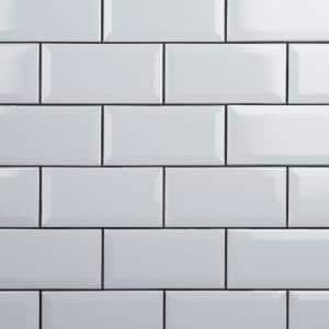 Crown Heights Beveled 3 in. x 6 in. Glossy White Ceramic Wall Tile (6.03 sq. ft. /Case)