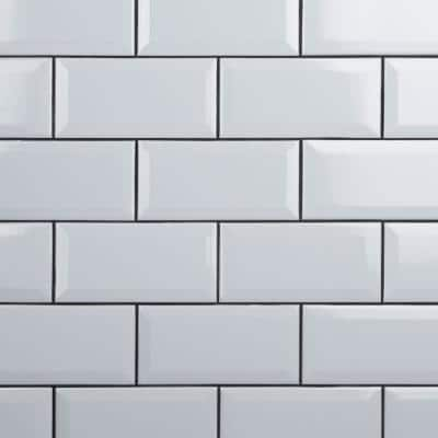 Crown Heights Beveled Glossy White 3 in. x 6 in. Ceramic Wall Tile (170 Cases/1025.10 sq. ft./Pallet)