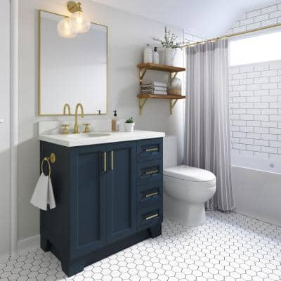 Taylor 36 in. W Vanity Cabinet Only in Midnight Blue