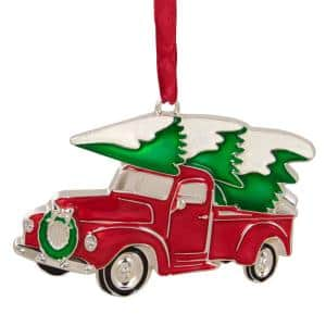 3.5 in. Red Vintage Country Pick Up Truck with European Crystals Silver Plated Christmas Ornament