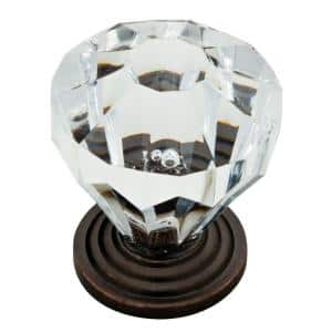 1-1/4 in. (32mm) Statuary Bronze with Clear Faceted Acrylic Cabinet Knob