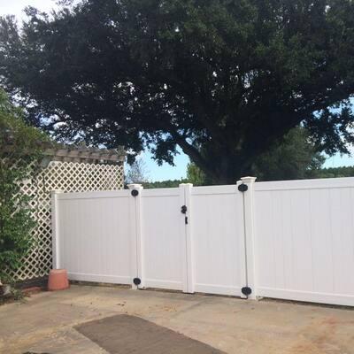 Pembroke 10.8 ft. W x 5 ft. H White Vinyl Privacy Double Fence Gate Kit