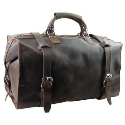 XL 21 in. Classic Expandable Cowhide Leather Long Trip Travel Duffel Bag