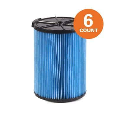 3-Layer Fine Dust Pleated Paper Filter for Most 5 Gal. and Larger RIDGID Wet/Dry Shop Vacuums (6-Pack)