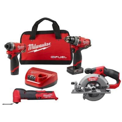 M12 FUEL 12-Volt Cordless Hammer Drill and Impact Driver with M12 FUEL 5-3/8 in. Circular Saw and Multi-Tool Combo Kit