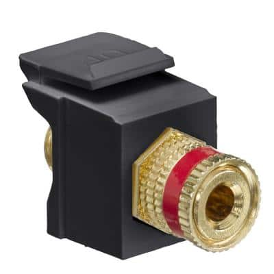QuickPort Binding Post Connector with Red Stripe, Black