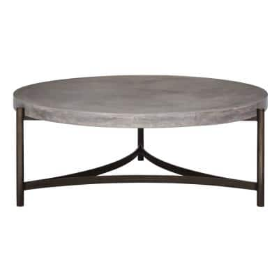 Lyon 49 in. Natural Concrete Large Round Concrete Coffee Table