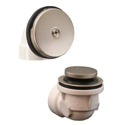 Toe Touch Schedule 40 PVC 1-Hole Bath Waste and Overflow Tub Drain Half Kit in Brushed Nickel