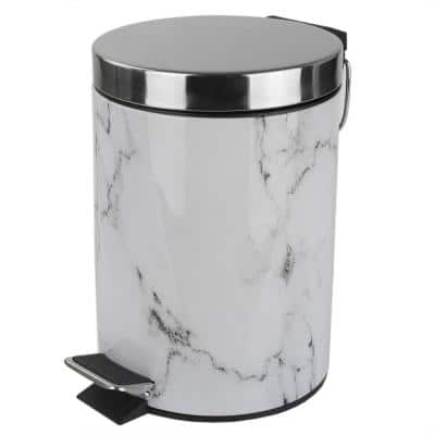 Faux Marble 0.70 Gal. Plastic Steel Trash Can