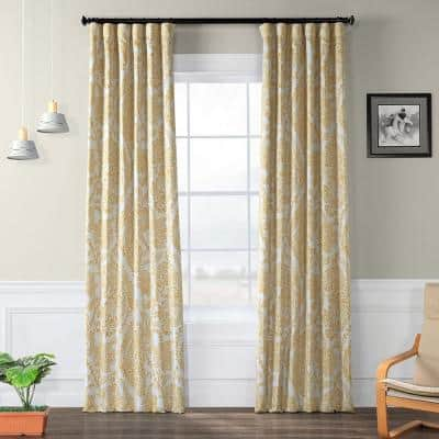 Tea Time Yellow Gold Floral Blackout Curtain - 50 in. W x 84 in. L