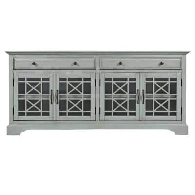 Craftsmen Series 70 in. W Earl Gray Wood and Metal Accent Cabinet Fits 70 in. TV with Fretwork Glass Front
