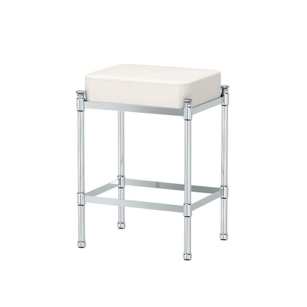 Gatco 14 25 In W X 19 5 In H Bath Vanity Stool In Chrome 1356 The Home Depot
