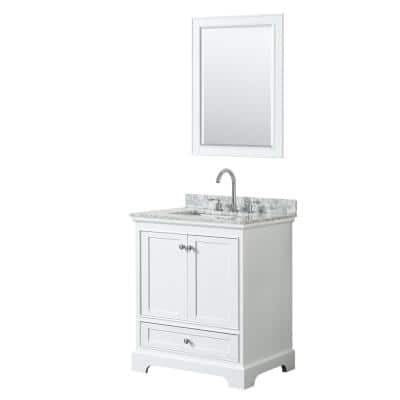 Wyndham Collection Deborah 60 In W X 22 In D Vanity In White With Marble Vanity Top In Carrara White With White Basins And 58 In Mirror Wcs202060dwhcmunsm58 The Home Depot
