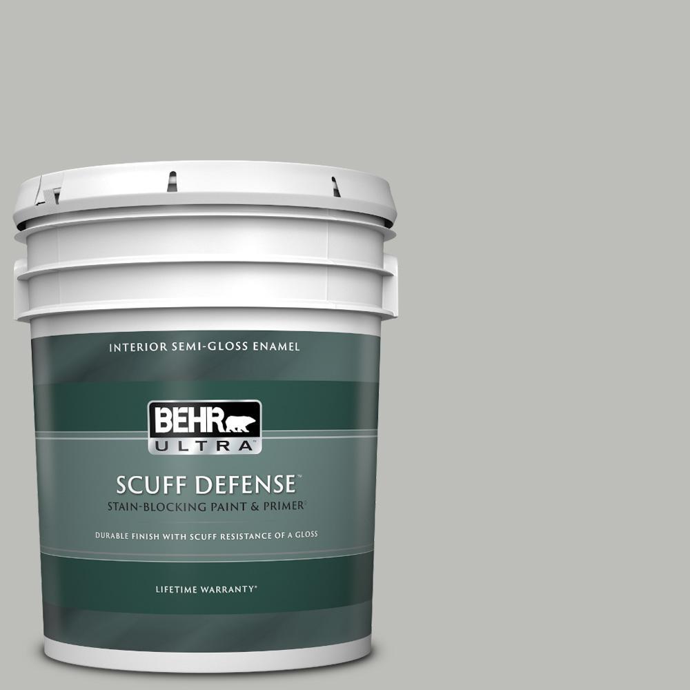 5 gal. #PPU24-17 Hailstorm Gray Extra Durable Semi-Gloss Enamel Interior Paint & Primer