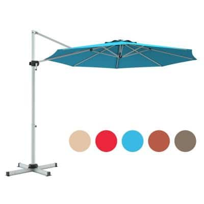 11 ft. Aluminum Tilt Cantilever Offset Patio Umbrella  in Blue with 360 degrees Rotation