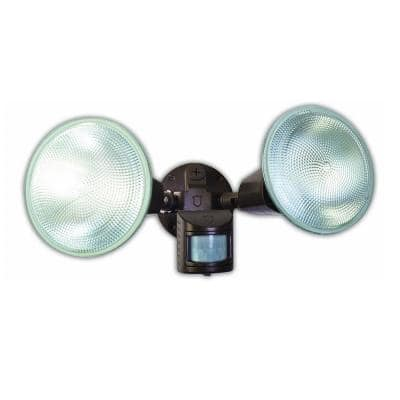 240-Watt 110-Degree Bronze Motion Activated Outdoor Dusk to Dawn Security Flood Light with Twin Head