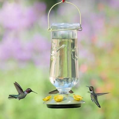 Desert Bloom Top-Fill Decorative Glass Hummingbird Feeder - 32 oz. Capacity