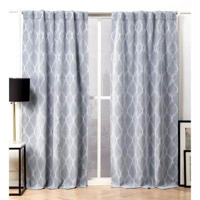 Chambray Blue Trellis Blackout Curtain - 52 in. W x 96 in. L