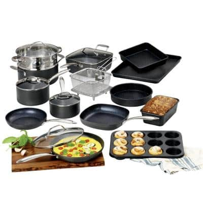 Professional 20-Piece Aluminum Hard Anodized Diamond and Mineral Coating Nonstick Premium Cookware and Bakeware Set