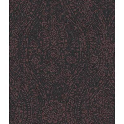Ornate Ogee Purple and Black Peel and Stick Wallpaper (Covers 28.18 sq. ft.)