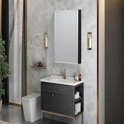 19 in. x 30 in. Frameless Recessed or Surface-Mount Beveled Single Mirror Bathroom Medicine Cabinet