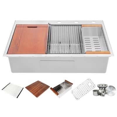 Ariel 16-Gauge Stainless Steel 36 in. Single Bowl Drop-In Workstation Kitchen Sink with Accessories