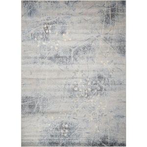 Somerset Silver/Blue 5 ft. x 7 ft. Oriental Modern Area Rug