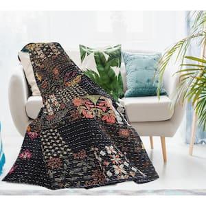 Kantha Ethnic Patchwork Black Dark Night Cotton Blend Throw Blanket