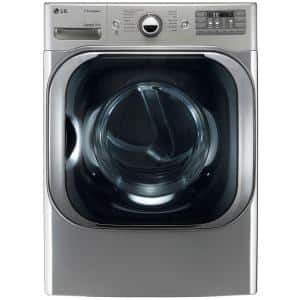 9.0 cu. ft. Stackable Front Load Electric Dryer w/ TrueSteam, SteamFresh & Pedestal Compatible in Graphite Steel