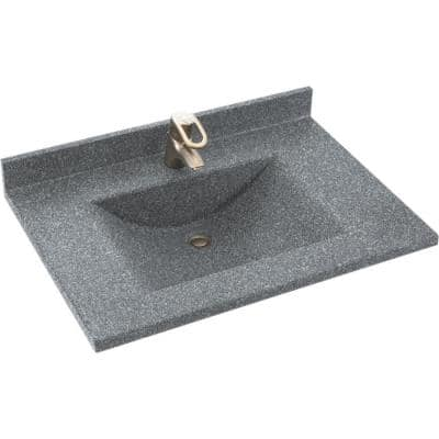 Contour 37 in. W x 22 in. D Solid Surface Vanity Top with Sink in Night Sky