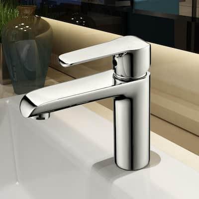 Single Hole Single-Handle Bathroom Faucet in Matte Silver