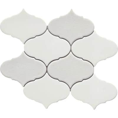 Retro II Pearl 8.66 in. x 10.24 in. Arabesque Matte Cement Mosaic Tile ( 0.629 sq. ft./Each)