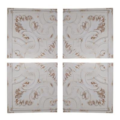 Kawan Natural White Abstract Wood Wall Panels (Set of 4)