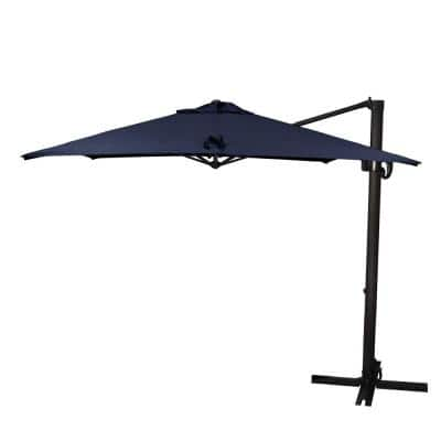 8.5 ft. Bronze Aluminum Square Cantilever Patio Umbrella with Crank Open Tilt Protective Cover in Navy Blue Sunbrella