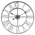 24 in. Dia Gray Roman Round Wall Clock