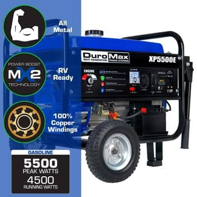 4,500-Watt Electric Start Gasoline Powered Portable Generator with Wheel Kit