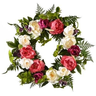 22 in. Spring Wreath with Multi-Peony