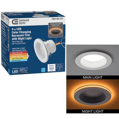 4 in. Color Selectable CCT Integrated LED Recessed Light Trim with Night Light Feature 625 Lumens Dimmable