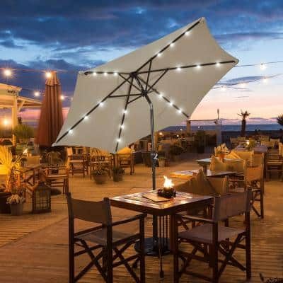 9 ft. Table Market Yard Outdoor Patio Umbrella with Solar LED Lights in Tan